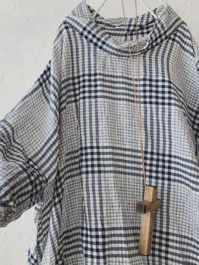 Light Gray Linen Checkered/plaid Casual T-Shirts