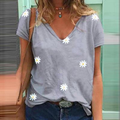 Sexy Tshirt V-Neck Daisy Printed T-shirt Short Sleeve T Shirt 2020 Fashion Casual Ladies Tops Loose Oversized Tees