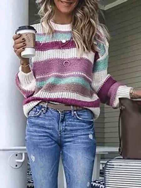 Fashion Multicolor Striped Plus Size Long Sleeve Statement Sweater