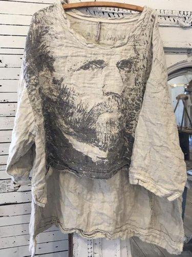 Women Light Gray Linen Round Neck Vintage Shirts & Tops