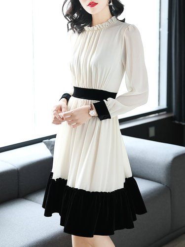White Chiffon Elegant Ruffled Midi Dress
