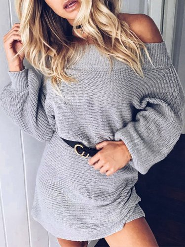 Solid Casual Sheath Off Shoulder Fall Dress