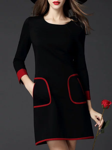 Plus Size Crew Neck Sheath Solid Women Dresses