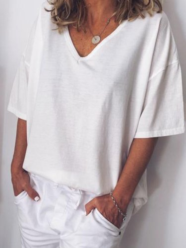 Women V Neck Cotton T Shirt Top Tunic