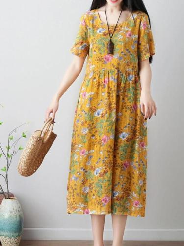 Women's  Fashion floral Print  O-neck maxi Dresses