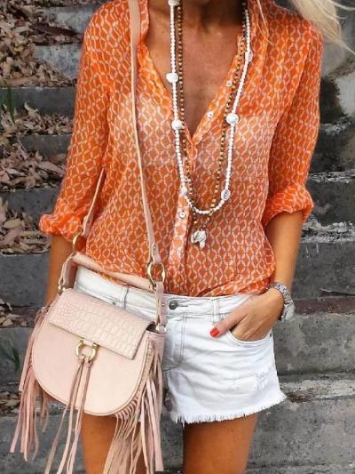 Orange Floral-Print Shirt Collar Long Sleeve Geometric Shirts & Tops