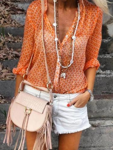 Orange Floral-Print Shirt Collar Long Sleeve Geometric Shirts & Tops
