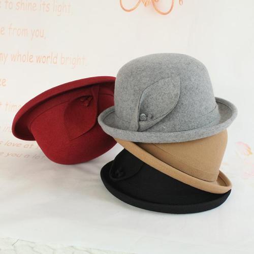 Round Head Curled Woolen Felt Hat Warm Ladies Hat