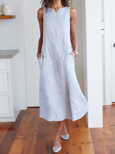 V Neck Striped Holiday Cotton Dresses