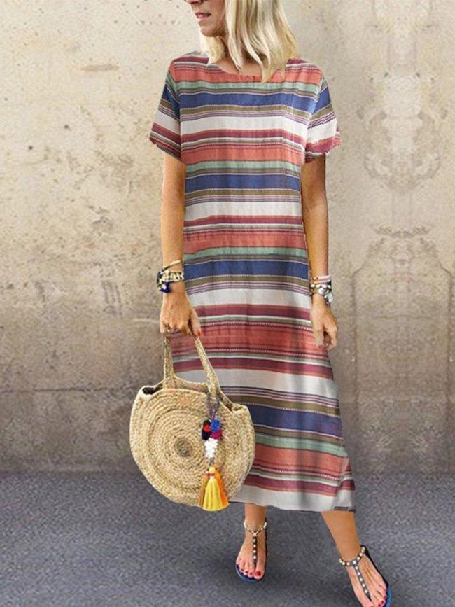 Printed Short Sleeve Casual Dresses