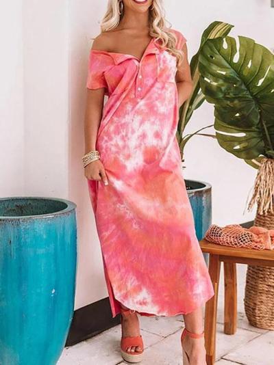 Tie Dye V Neck Casual Maxi Dress