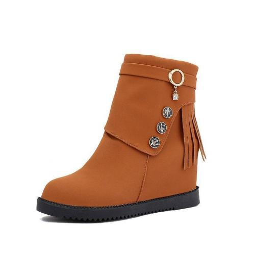 Women Spring/Fall Daily Zipper Nubuck Flat Heel Boots