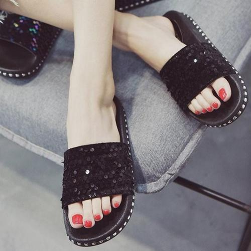 Women PU Slippers Casual Comfort Sequin Peep Toe Shoes