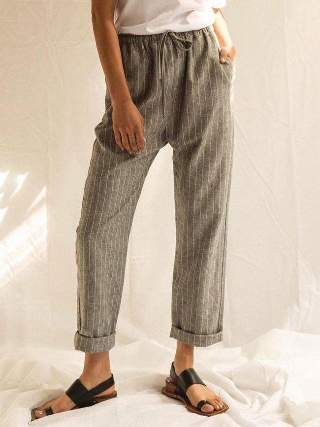 Plus Size Stripes Casual Pants