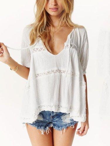 White V Neck Cotton Short Sleeve Shirts & Tops