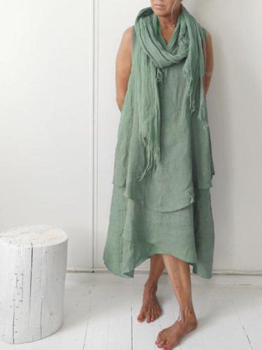 Plain Casual Sleeveless Dresses