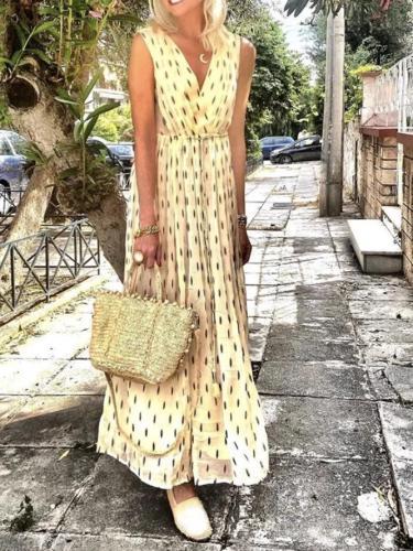 Printed V Neck Vintage Dresses
