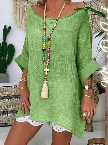 Plus Size   Women   Half   Sleeve  V-neck  Vintage  Casual   Tops
