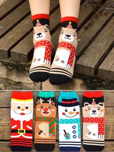 Christmas Socks 1pc Warm Santa Snowman Elk Bear Pattern Cute Ladies Socks