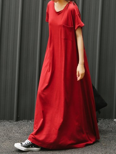 Plus Size Crew Neck Women Red Dress Shift Daytime Pockets Casual Maxi Dress