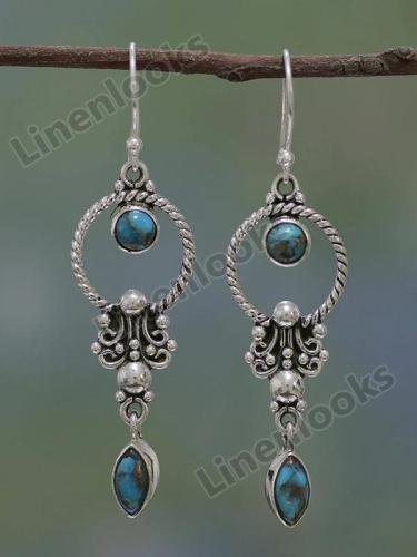 Stylish Natural Dangle Drop Earrings Resin Stone Boho Ethnic Vintage Hanging Earrings