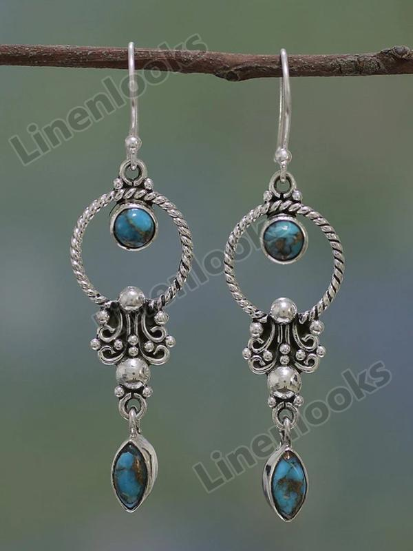 Stylish Natural Dangle Drop Earrings Resin Stone Boho Ethnic Vintage Hanging Earrings