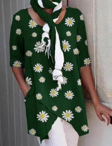 Cotton Linen Irregular Women Blouses Plus Size Flower Print Daisy Female Tunic Casual O Neck Half Sleeve 2020 Shirt