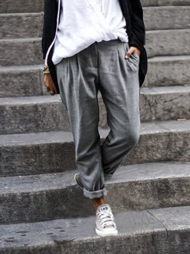 Solid Cotton-Blend Pants