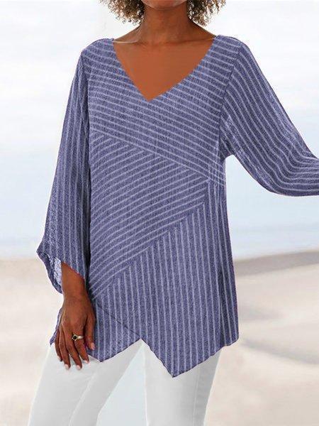 Striped Long Sleeve V Neck Cotton-Blend Shirts & Tops