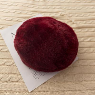 Solid Color Fur Beret Hat Women Autumn and Winter Fashion