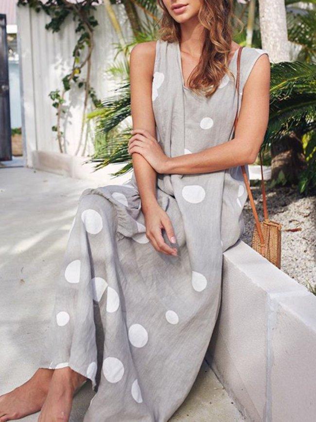 Casual Polka Dot Maxi Dresses
