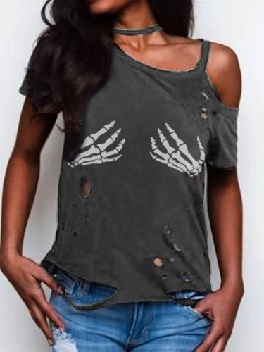 Abstract Short Sleeve Statement Printed Shirts & Tops