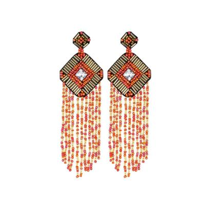 Handmade Beaded Tassel Earrings Square Earrings Crystal Diamond Earrings Female