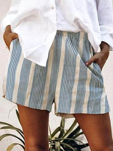 Stripes-Printed Casual Shorts