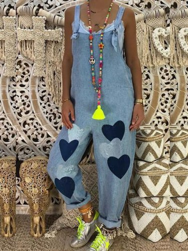 Plus Size Women Heart Print Pockets Denim Jumpsuits