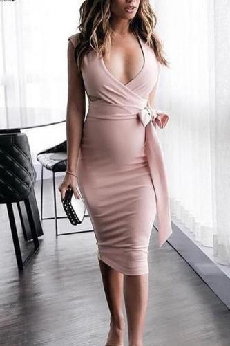 Maternity V-Neck Side Bow Bodycon Dress
