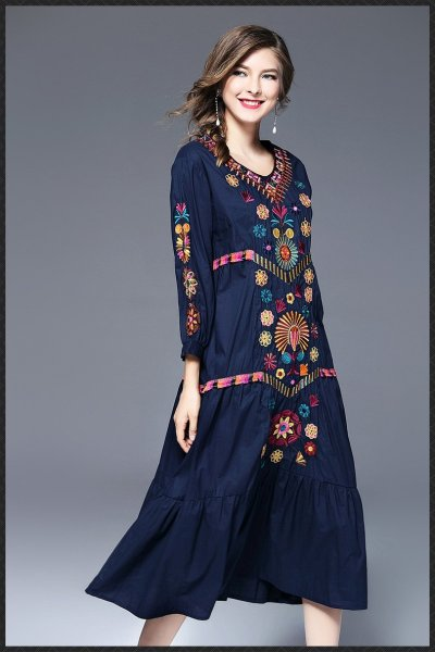 Vintage Embroidery Linen Cotton Loose 3/4 Sleeve V-neck Boho Summer Maxi Dresses