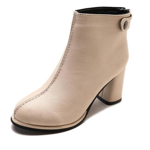 Women Winter Comfy Warm Lined Zipper Chunky High Heel Short Boots