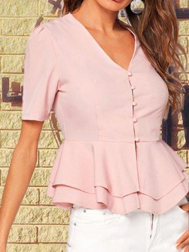Women Breasted double-layered Lotus Leaf Hem V-neck Short Sleeve  Shirt