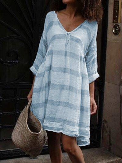Half Sleeve V Neck Striped Casual Dresses