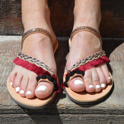 Women's Slippers Flat Heel Vintage Red Sandal