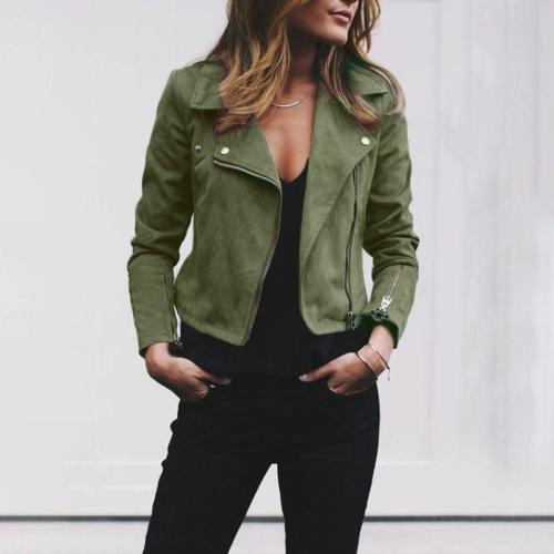 Koseme Fashion Cool Casual Loose Plain Zipper V Collar Long Sleeve Jacket Cardigan