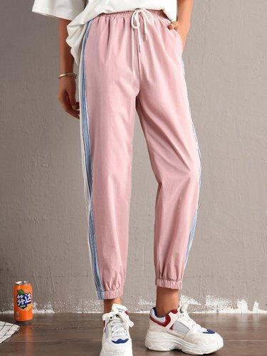 Plus Size Women Striped Plain Casual Pants