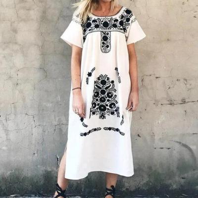 White Short Sleeve Cotton Dresses