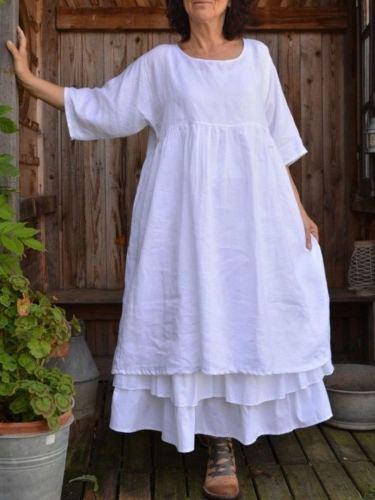 White Solid Crew Neck 3/4 Sleeve Dresses