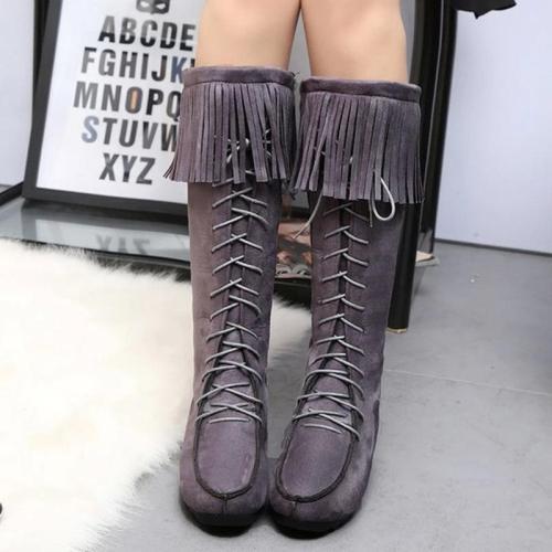 New women's round Toe Suede Tassel Knee High boots
