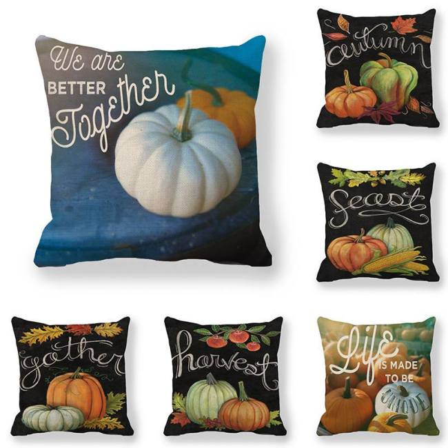Cushion cover Pumpkin Design in Harvest Season linen/cotton pillow case