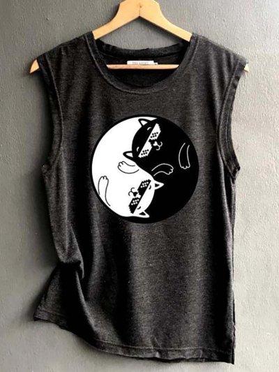 Sleeveless Cotton-Blend Casual Shirts & Tops