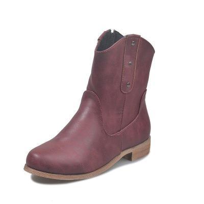 Low Heel Rivet Vintage Pu Mid-Calf Zipper Boots