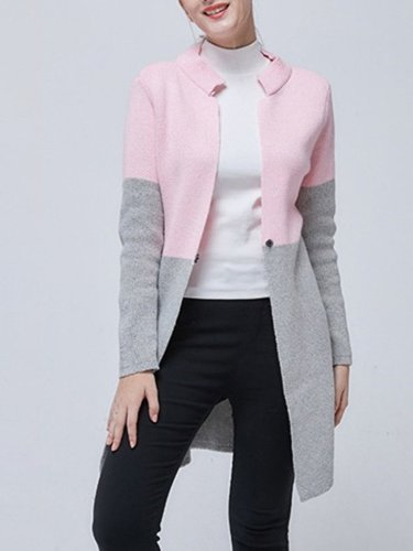 Casual Long Sleeve Stand Collar Color-Block Solid Coat